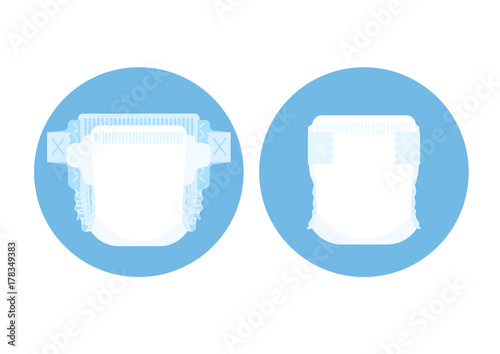 Diaper and buttoned diaper in blue circle Vector illustration. Poster Mural XXL