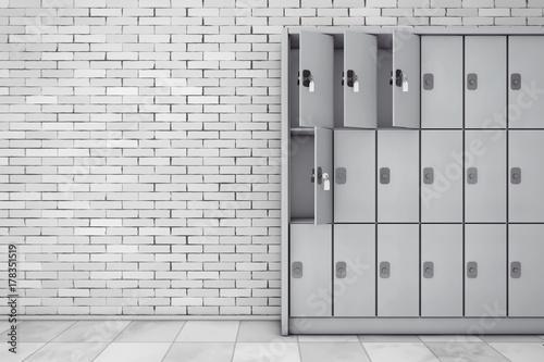 Fototapeta Metal Safety Lockers for Luggage. 3d Rendering