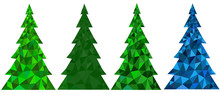 Set Of Abstract Polygonal Christmas Trees On A White Background