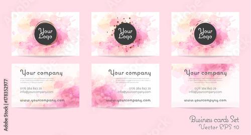 Fotografie, Tablou Business cards set in watercolor design.