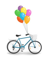 Blue Bicycle With Color Balloo...