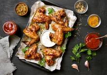 Baked Chicken Wings On Baking Tray
