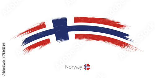 Flag of Norway in rounded grunge brush stroke. Canvas Print