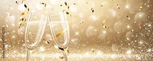 Fotografie, Obraz  Glasses of champagne with confetti