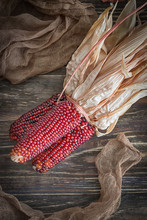 Dry Red Corn On A Dark Wooden Background. Rustic Style, Top View