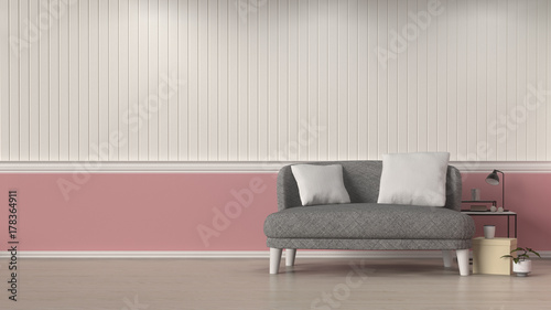 Fototapeta simple living room gray sofa in front of white and pink wall interior design 3D illustration,decoration room with lamp interior background obraz na płótnie
