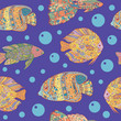 Seamless pattern with zen art doodle fishes on blue sea background