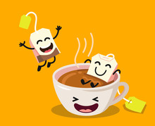 Cute Cartoon Cup Of Tea With Happy Tea Bags