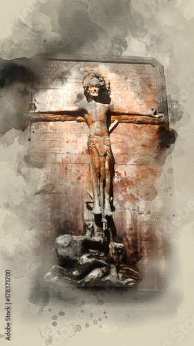 Crucifixion of Jesus Christ. Watercolor background Canvas Print