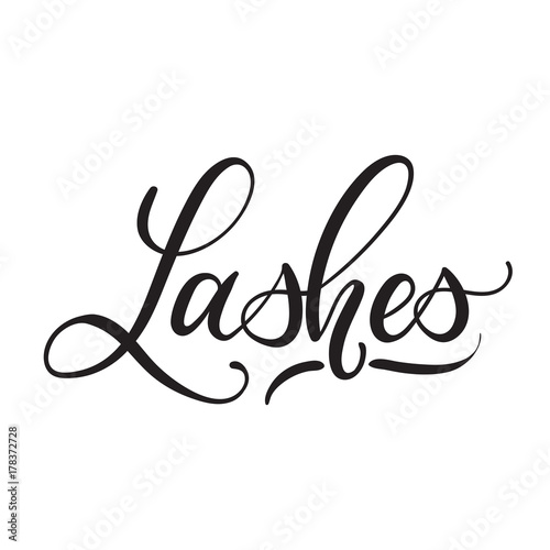 Lashes lettering logo design  Vector hand drawn lettering