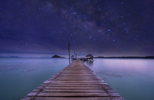 Night View Of Ocean Wood Dock ...