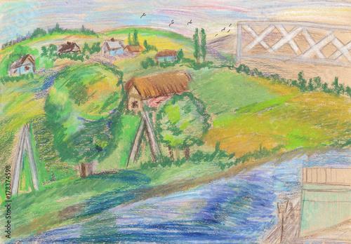 Plakat Letni krajobraz, drzewa, rzeki i domy wiejskie