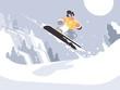 Snowboarder guy snowboarding