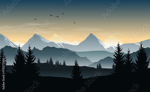 Fotobehang Donkergrijs Vector landscape with silhouettes of trees, hills and misty mountains and morning or evening sky
