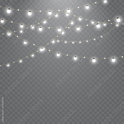 Christmas lights isolated on transparent background Fototapeta