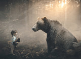 Fototapeta Child room - Little girl and bear