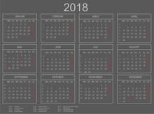 Kalender 2018 Querformat Grau/weiss Mit Umrahmung