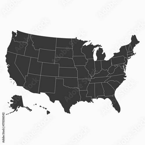 USA map. Blank map of United States of America. Vector ...