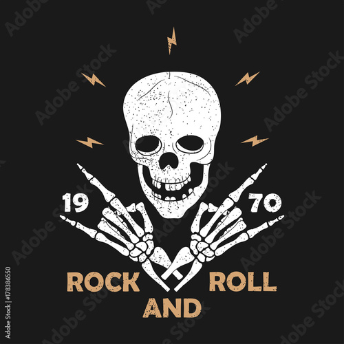 Rock-n-Roll music grunge typography for t-shirt Tapéta, Fotótapéta