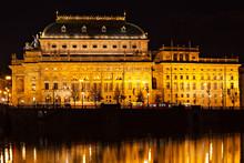 National Theatre Prague In Night