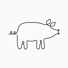Pig One Line Drawing. Continuo...