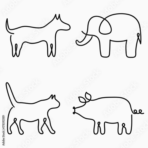 Single Line Drawings Of Animals : Elephant one line drawing continuous animal hand