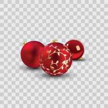 Red Christmas Balls Vector Ill...