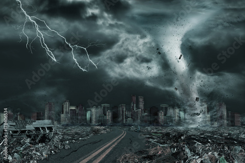 Photo Cinematic Portrayal of City Destroyed by Tornado or Hurricane