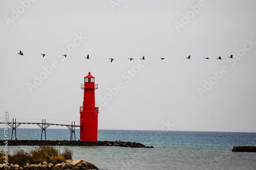 Plakat Gęsi latające przy latarni Algoma w październiku