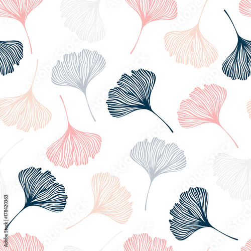 Seamless pattern with ginkgo leaves. Wallpaper Mural