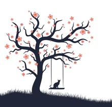 Blossoming Tree With Swing And Cat.