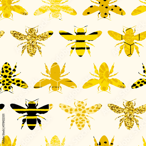 Cotton fabric Seamless geometric pattern with bee. Modern abstract honey design.