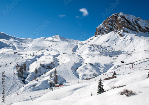 Skiing area in the Dolomites Alps Wallpaper Mural