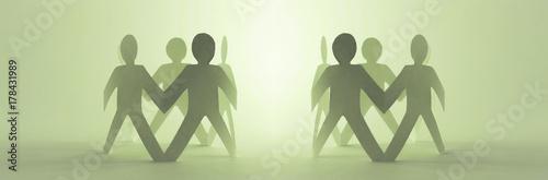 Zwei Menschenkreise halten sich an den Händen - XXL Bannerformat Tableau sur Toile