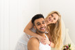 Beautiful Couple Embrace Laughing Happy Smile Young Hispanic Man And Woman In Love, Lovers Hug