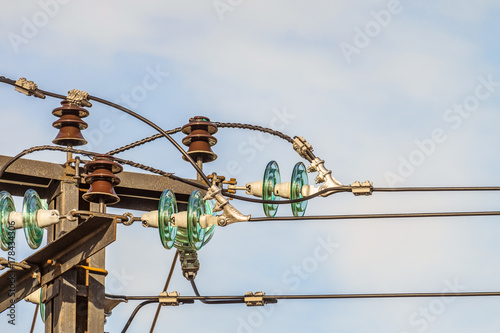 Cool Electricity Garland Of Insulators With Electric Wires On A Top Steel Wiring Digital Resources Antuskbiperorg