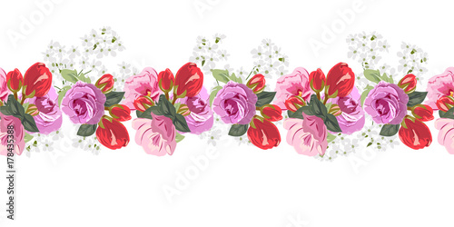 Seamless Floral Border With Cute Pink And Red Flowers And Beautiful