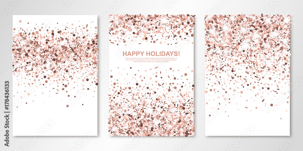 Fototapeta Banners set with nude confetti on white. Vector flyer design templates for wedding, invitation cards, save the date, business brochure design, certificates. All layered and isolated