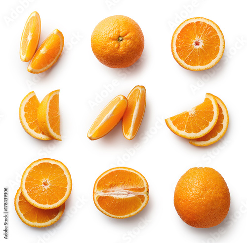 Poster Fruits Fresh orange isolated on white background