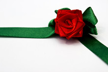 Red Rose With Green Petals Made By Hand From Satin Ribbon