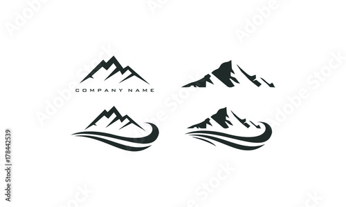 Photo  mountain peak logo template