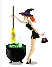 Cute Young Witch With Cauldron...