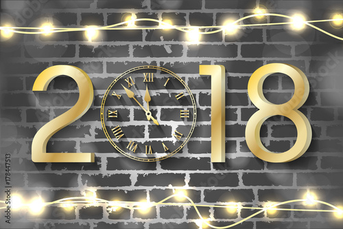 Golden New Year 2018 Concept With Realistic Christmas Lights On Brick Wall Background Vector Greeting