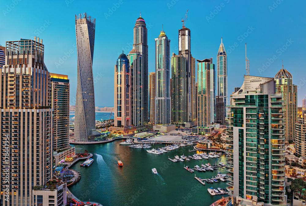 Fototapeta General view of Dubai Marina at twilight from the top