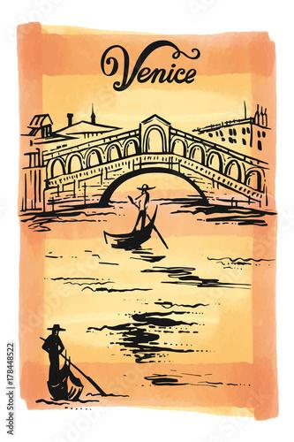 Stampa su Tela Ink drawing of The Bridge of Rialto, Venezia, Italy vector sketch illustration V