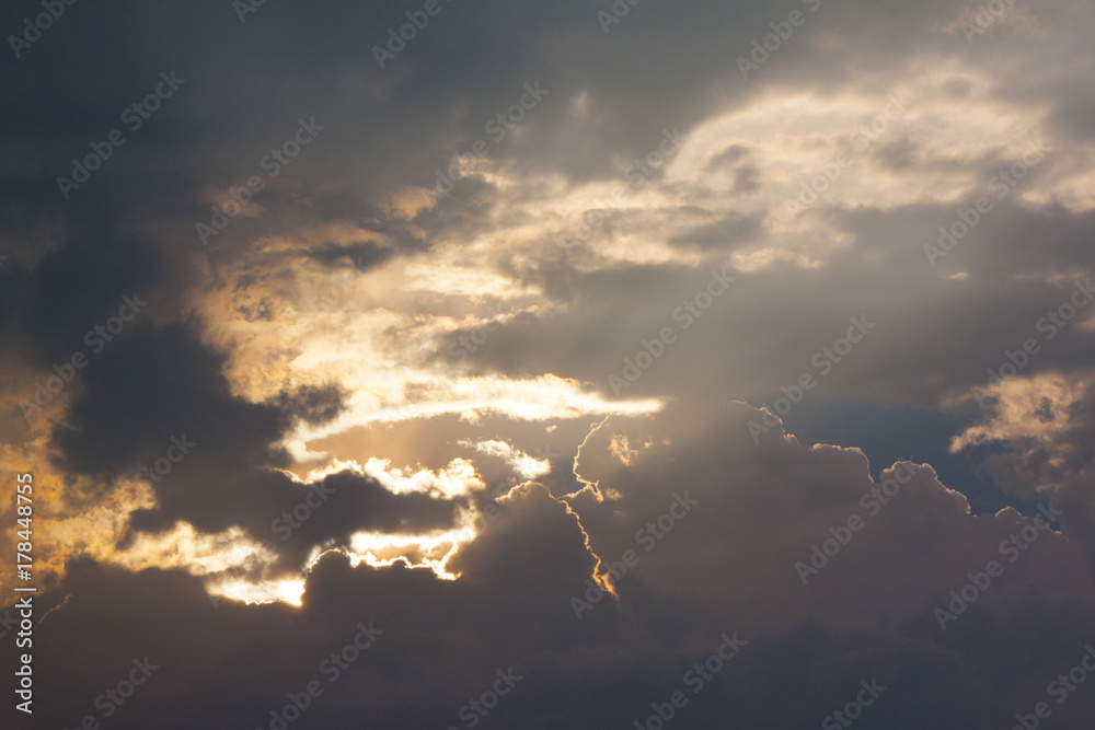 Gold cloud and sunset on evening.