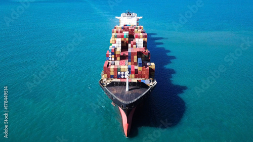 Fotografia  Ultra large container vessel (ULCV) at sea - Aerial image