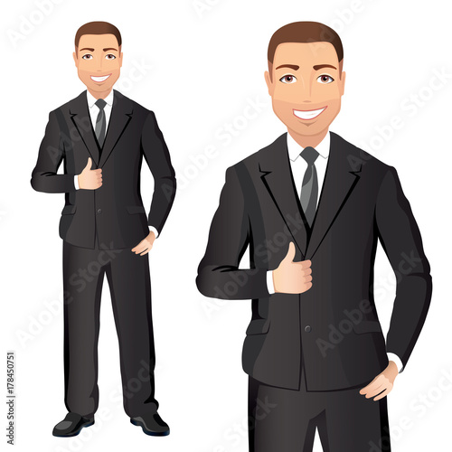 e0741a6749 Business man in black suit smiles and shows thumbs up. Full length  portraits of Confident man in suit isolated on white background. Flat  design.