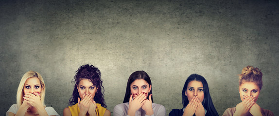 Group of women covering their mouth scared to speak out about abuse and domestic violence
