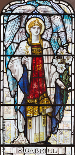 LONDON, GREAT BRITAIN - SEPTEMBER 17, 2017: The archangel Gabriel on the stained glass in church St Canvas Print